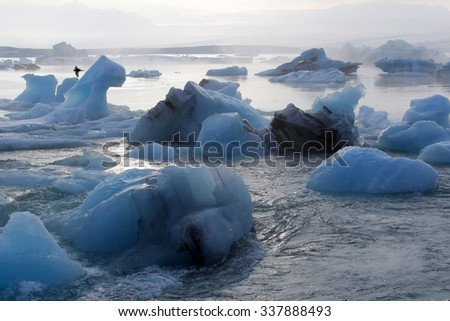 Natural iceberg in the ocean in northern Iceland - stock photo