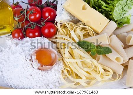 natural ingredients of the Mediterranean diet balanced - stock photo