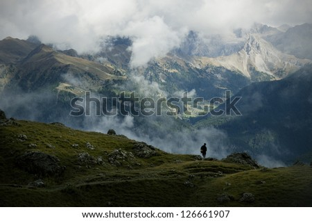 Natural landscape in the mountains - stock photo