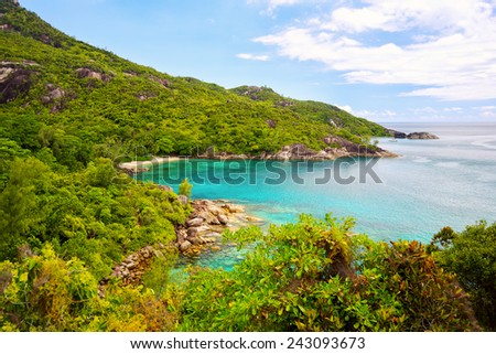 Natural landscape of Seychelles in Mahe island - stock photo