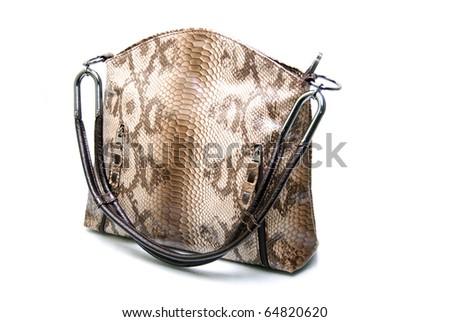 Natural Leather Handbag Isolated On White Background - stock photo