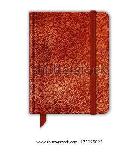 Natural Leather Notebook. Copybook With Band And Bookmark. Raster Version - stock photo