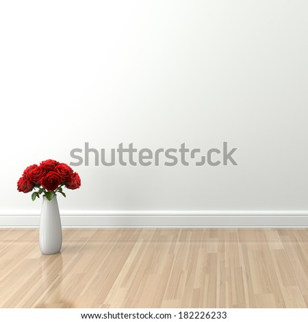 Natural light empty interior with rose,  High-resolution 3d rendering - stock photo