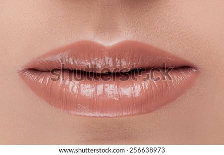 natural lip color. - stock photo