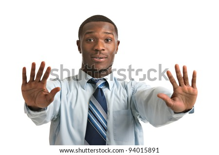 Natural Looking Worried Young African American Businessman on Isolated Background - stock photo