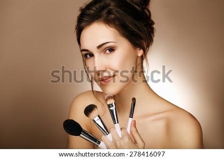 Natural Make-up. Perfect Skin. - stock photo