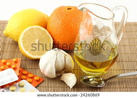 natural medicaments and pills - stock photo