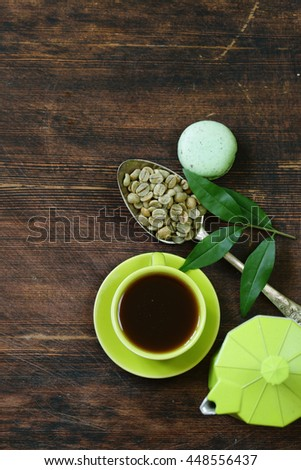 natural organic green coffee beans, healthy food - stock photo