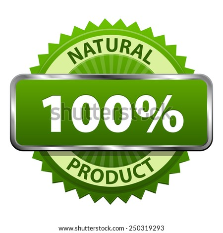 Natural Organic 100 percent product green label or badge icon isolated on white background. Healthy food and drink. illustration - stock photo