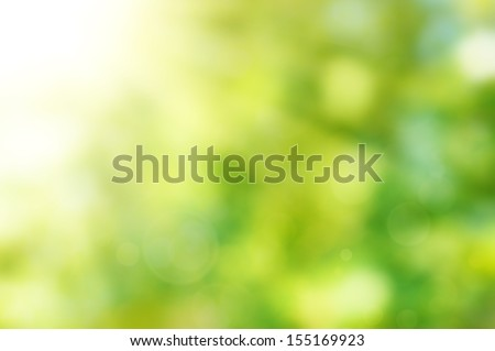Natural outdoors bokeh background  in green and yellow tones with sun rays - stock photo
