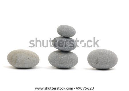 Natural piles of pebbles - stock photo