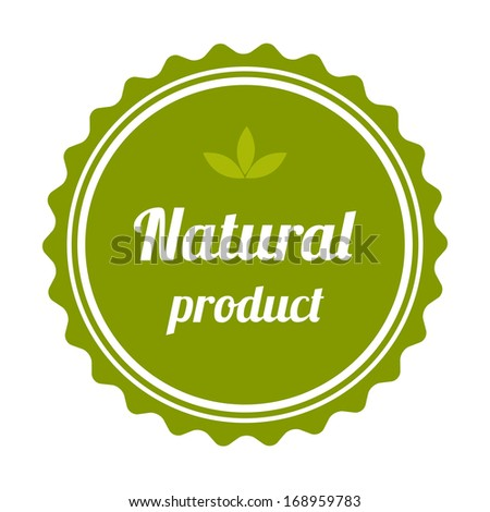 Natural product badge and label. - stock photo