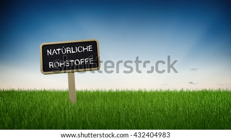 Natural raw materials text in white chalk on blackboard sign in flowing green grass under clear blue sky background. 3d Rendering. - stock photo