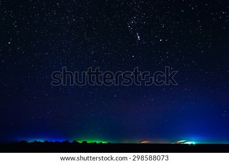 Natural Real Night Sky Stars Background In Countryside - stock photo