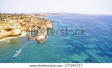 Natural rocks near Lagos in the Algarve Portugal - stock photo