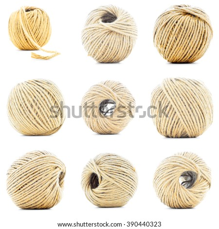 Natural rope skein, hemp roll collection, isolated on white background - stock photo