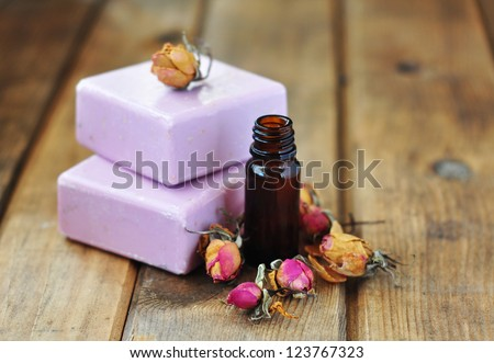 Natural rose oil soap - stock photo