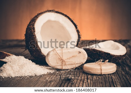 Natural soap from coconut - stock photo