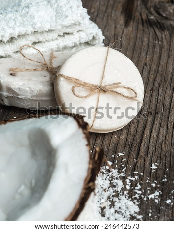 Natural soap from coconut-Spa setting - stock photo