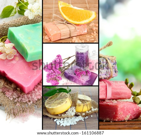 Natural soaps collage - stock photo