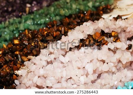 Natural stone beads - stock photo