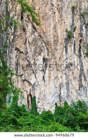 natural stone cliff wall, Thailand - stock photo