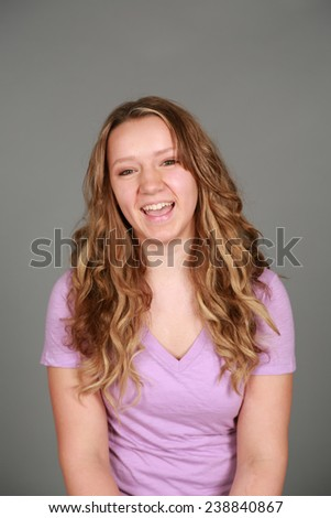 natural teen girl with skin and hair not retouched - stock photo