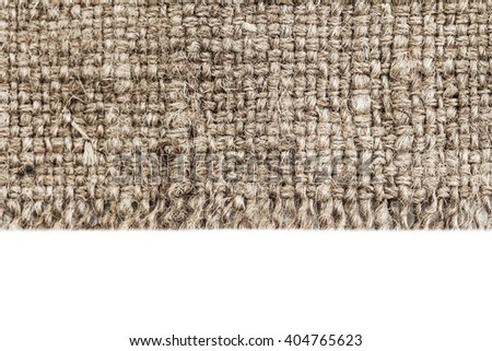 Natural Textile isolated over white / Canvas Fabric Textured Background.  - stock photo