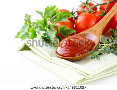 natural tomato sauce (ketchup) with herbs and spices - stock photo