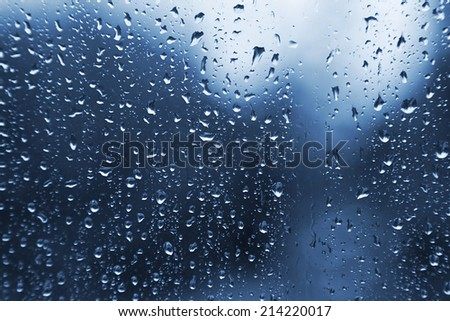 Natural water drops on glass texture - stock photo