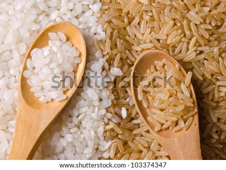 Natural white and brown long rice in wood spoons. - stock photo