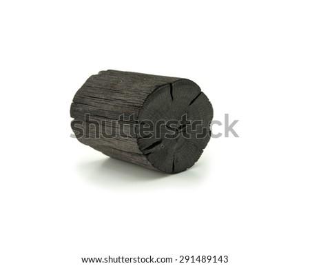 Natural wood charcoal Isolated on white. Kishu binchotan, japanese traditional white charcoal or hard wood charcoal, isolated on white background. - stock photo