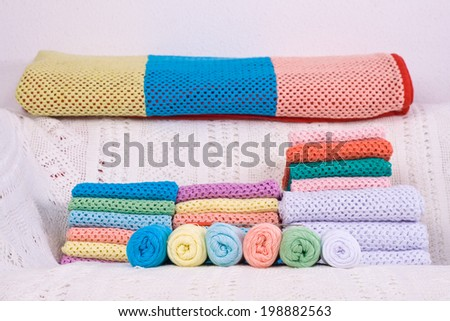 natural yarn fabric handmade various colors - stock photo