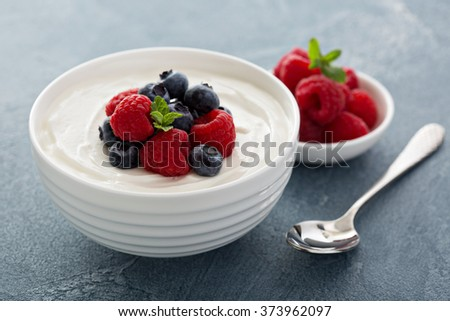 Natural yogurt in a bowl with fresh berries - stock photo