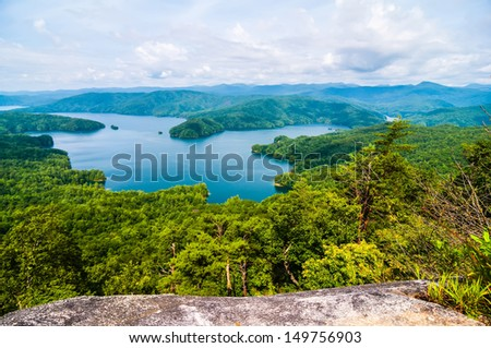 nature around upstate south carolina at lake jocassee gorge mountains - stock photo