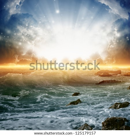 Nature background - beautiful sunrise, bright sun, sea with waves - stock photo