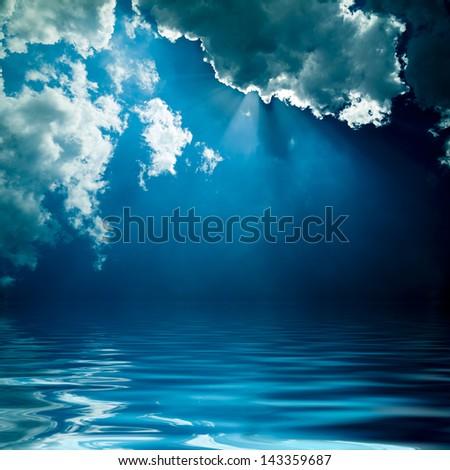 Nature background dark seascape - stock photo