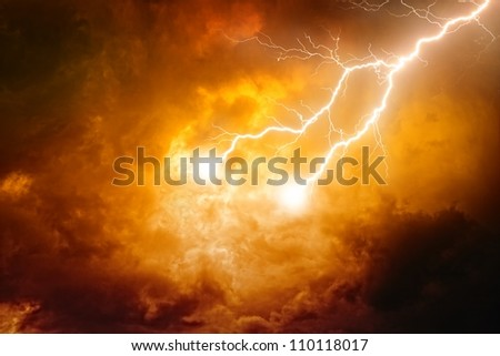 Nature background - lightnings in red sky - stock photo