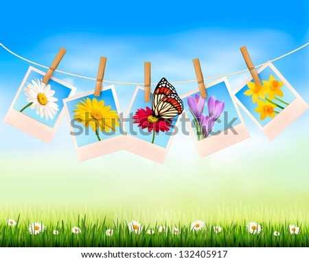 Nature background with photo with flowers and butterfly. Raster version of vector - stock photo