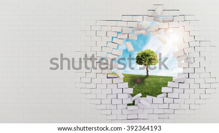 Nature beyond the cement - stock photo