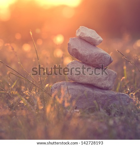 nature calm and balance vintage - stock photo