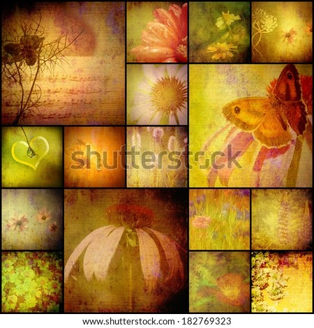 nature collage album, wildflowers, butterfly and heart, vintage style - stock photo