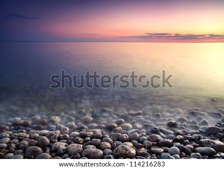 Nature composition of sunset - stock photo