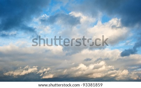 Nature creates beautiful cloud formation in vibrant colorful skyscape - stock photo