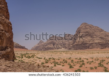 Nature, desert and rocks of Wadi Rum (Valley of the Moon), Jordan. UNESCO World Heritage. - stock photo