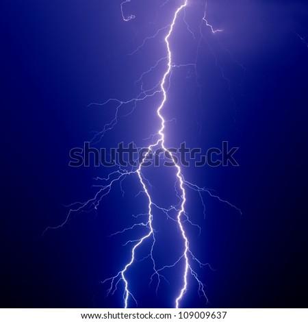 Nature force background - big lightning in dark sky - stock photo