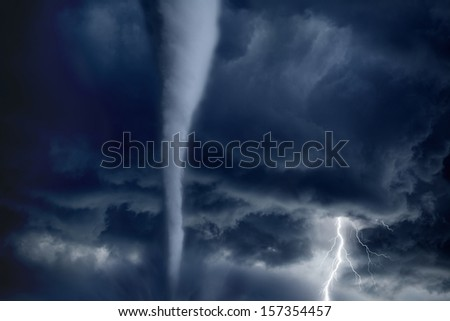 Nature force background - huge tornado, bright lightning in dark stormy sky - stock photo