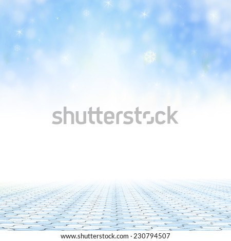 Nature frame for entering text. Stone paving and blurred winter background. Blurred winter for Merry Christmas and Happy New Year 2016 background concept. - stock photo