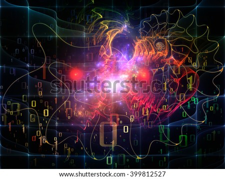 Nature Geometry series. Background design of mathematical swirls and fractals on the subject of math, geometry, design, education and science - stock photo