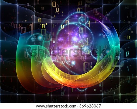 Nature Geometry series. Composition of mathematical swirls and fractals with metaphorical relationship to math, geometry, design, education and science - stock photo